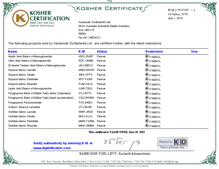 Savannah Surfactants OK Kosher Certificate 2010