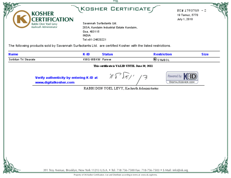 Savannah OK Kosher Certification